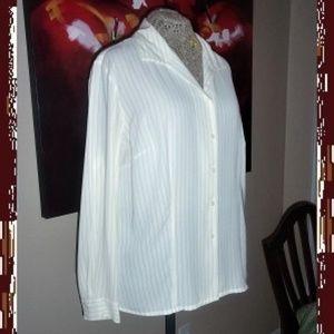 WinterWhite Black Pin-Stripe Tailored Crepe Blouse